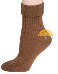 Women's Ribbed Crew Alpaca Socks by AndeanSun - Camel - 16711705