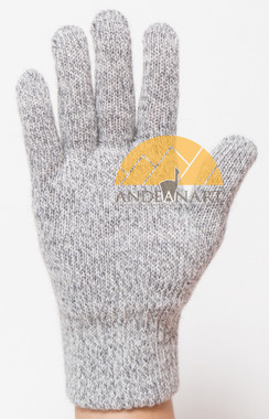 Classic Blend Alpaca Gloves made with 50% Alpaca Yarn by AndeanSun - Light Grey and White Marled Large - 16783805