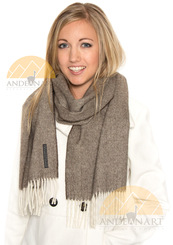 100% Baby Alpaca Herringbone Woven Scarf HIGH END - Heather Brown and Ivory - 16774201