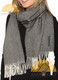100% Baby Alpaca Herringbone Woven Scarf HIGH END - Charcoal and Ivory - 16774201