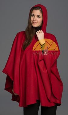 100% Baby Alpaca Hooded Cape - Cloak - Dark Red - 16834209