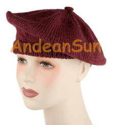 Solid Color Alpaca Beret - Burgundy - 16761702
