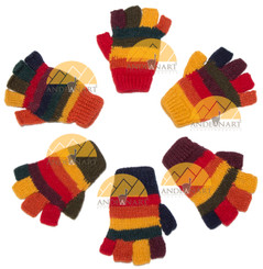Fingerless Full Color Striped Alpaca Gloves for Children - Earth - 16783222