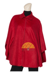 Peter Pan Collar Short Alpaca Cape with Buttons - Alpaca Carrasco - Flame - 16833520