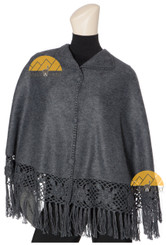 Short Alpaca Cape with Hand Crocheted Roses - Alpaca Carrasco - Charcoal - 16833522