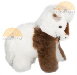 "Alpaca Fur Horse 9"" - Alpaca Fur Stuffed Animal - Mixed Colors - 15981601"