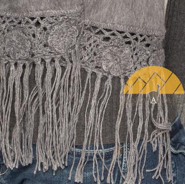 Hand Crocheted FLOWERS Alpaca Scarf - Alpaca Carrasco - Grey - 16773556