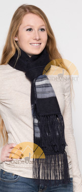 Striped Alpaca Scarf - Alpaca Carrasco - Navy Blue - Blue Grey - Steel Blue - 16773557