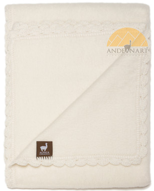 Alpaca Blanket for Babies with Hand Crocheted Scalloped Trim - Alpaca Carrasco - Ivory - 16891704