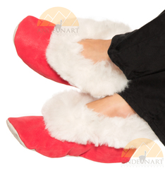 Alpaca Fur Collar Slipper - Faux Suede - Shoe Style - Red - 72911702