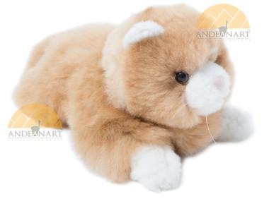 "Alpaca Fur Cat 12"" Lying - Beige color - 15961604"