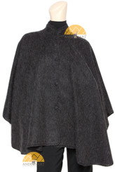 Short Mock Neck Alpaca Cape - Alpaca Carrasco - Charcoal - 16853526