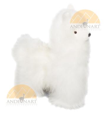 Alpaca Fur Stuffed Figurine Standing - White - 15161656