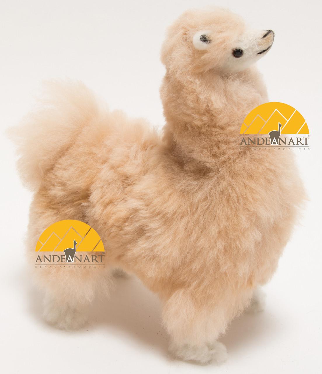 Alpaca Fur Stuffed Figurine Standing With Booties 10 Alpaca