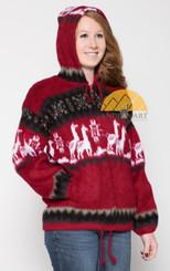 Alpaca Motif Heavyweight Full-Zip Hoodie Jacket - FAUX Alpaca - Dark Red - 16264001