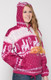 Alpaca Motif Heavyweight Full-Zip Hoodie Jacket - FAUX Alpaca - Fuchsia - 16264001