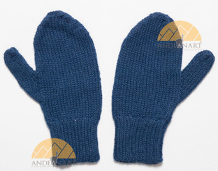 100% Alpaca KIDS MITTENS SOLID COLORS - Dark Steel Blue - 16783230