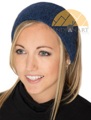Baby Alpaca Ear Warmer Headband Ski / Snowboard / Sport Infused with Jojoba Oil - Alpaca Headband - Heather Steel Blue Grey - 16741702
