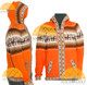 Alpaca Motif Hoodie Zip-Up Cardigan - Alpaca Sweater - Orange - 16261711
