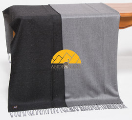 Reversible Alpaca Throw - Alpaca AND ACRYLIC Blend Blanket - by Alpaca Carrasco - Charcoal - Light Grey - 16893607