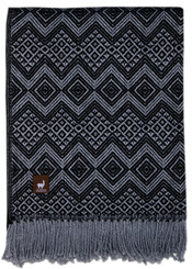 Diamond Weave Alpaca Throw - Alpaca AND ACRYLIC Blend Blanket by Alpaca Carrasco - Light Grey and Black - 16893612