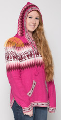 Alpaca Motif Hoodie Sweater with pockets - Alpaca Sweater - Fuchsia - 16261712