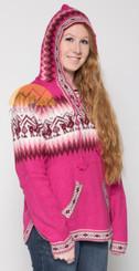 Alpaca Motif Hoodie Sweater with pockets - Alpaca Sweater - Fuchsia - 16261712