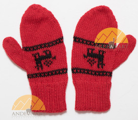 100% Alpaca KIDS MITTENS with Alpaca Motif - Bright Red - 16783231