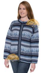 Alpaca Motif Crew Neck Zip-Up Cardigan with pockets - Alpaca Sweater - Alpaca Blend - US STOCK