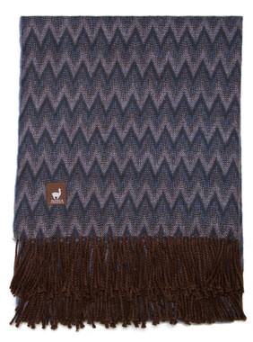 Alpaca Chevron Lap Throw - Alpaca ACRYLIC Blend Blanket by Alpaca Carrasco - Steel Blue Combo - 16893613