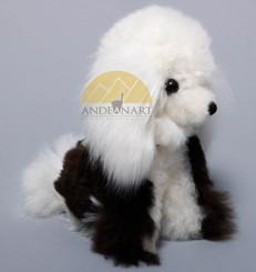 "Alpaca Fur Dog Small 7"" inches (fur to fur) - 5 1/2"" (hide to hide) - Alpaca Fur Stuffed Animal - Mixed Colors - 15961611"
