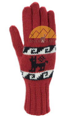 Double Knit Alpaca Gloves with Alpaca Motif made with 50% Alpaca Yarn - Alpaca Gloves - 16783229DR - Dark Red