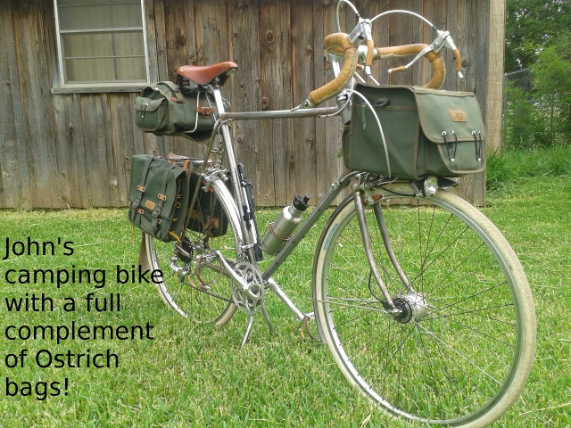 Camping bike with Ostrich panniers