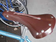 Rivet Pearl Leather Saddle, burgundy