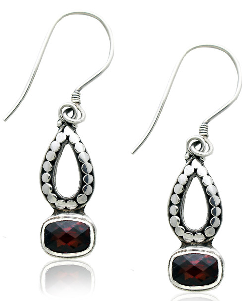 Open Pear Shape Dotted Accent Earring with Rectangle Garnet in Sterling Silver
