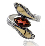 Two Tone Snake Wrap Ring with Marquis Shape Garnet set in Sterling Silver