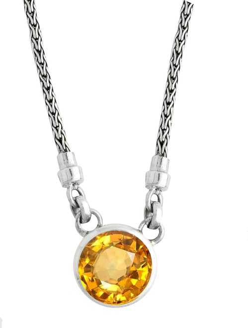 Citrine Solitaire Sterling Silver Necklace