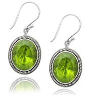 Oval Peridot Double Bezel Sterling Silver Earring with Braiding
