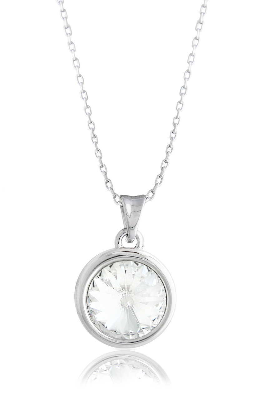 1a8d1282f45 Swarovski Element Crystal White Solitaire Pendant Necklace - Artune ...