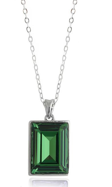 Emerald Swarovski Crystal Necklace in Brass