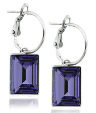 Tanzanite Swarovski Crystal Earring in Brass