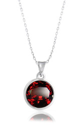 Garnet Solitaire Swarovski Crystal Necklace in Brass