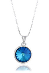 Blue Solitaire Swarovski Crystal Necklace in Brass