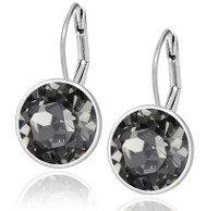 Black Diamond Swarovski Crystal Leverback Earring in Brass