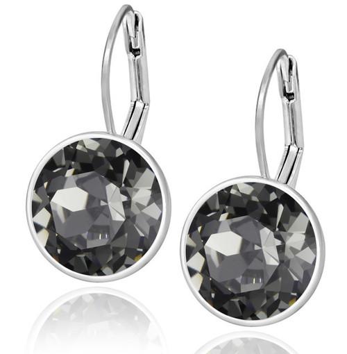 Black Diamond Swarovski Crystal Leverback Earring in Brass