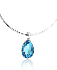 Swarovski Element Pear Shape Aquamarine Crystal Choker Necklace
