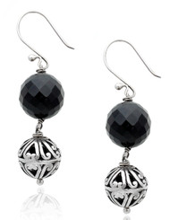 Sterling Silver Round Black Agate Drop Earring