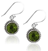 Sterling Silver 8mm Round Peridot Earrings