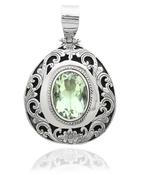 Oval Green Amethyst Filigree Pendant