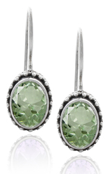 Oval Green Amethyst Sterling Silver Earring with Beadwork